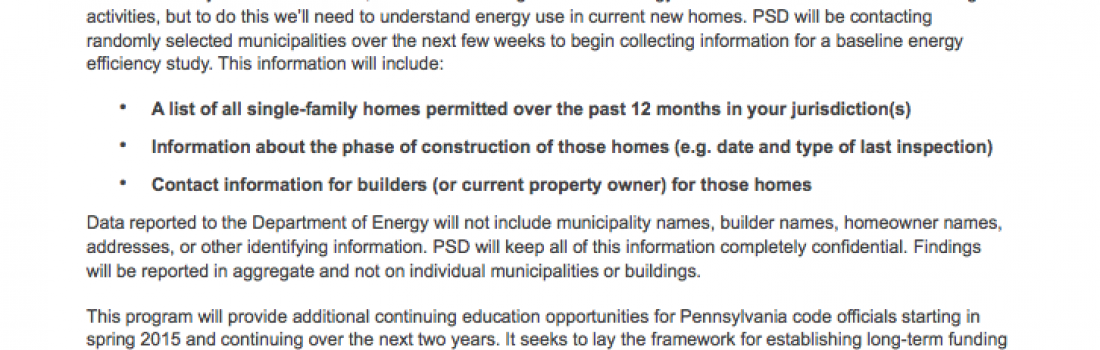 Launching The Penn Residential Energy Codes Initiative